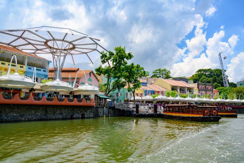 Набережная Clark на реке Сингапура, Сингапуре, Азии стоковое фото rf
