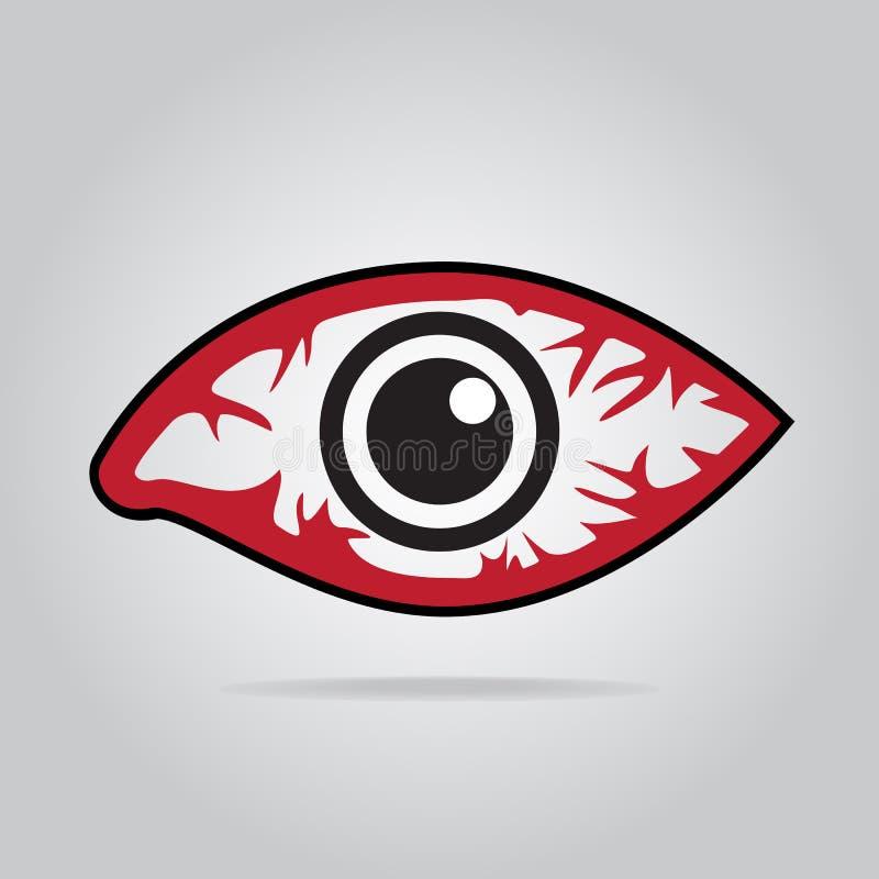 Наблюдайте значок красноты, воспалительное заболевание глаз иллюстрация штока