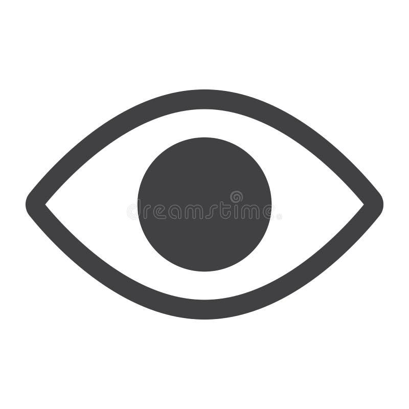 Наблюдайте значок, сеть и передвижная глифа, вектор знака объектива иллюстрация вектора