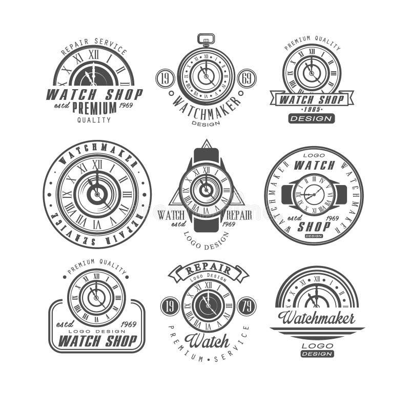 Наблюдайте магазин и комплект логотипа ремонтных услуг, ретро значки с часами в monochrome иллюстрациях вектора стиля на белизне иллюстрация штока