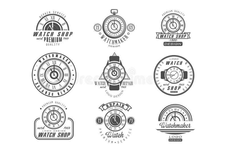 Наблюдайте магазин и набор логотипа ремонтных услуг, ретро значки с часами в monochrome иллюстрациях вектора стиля на белизне бесплатная иллюстрация