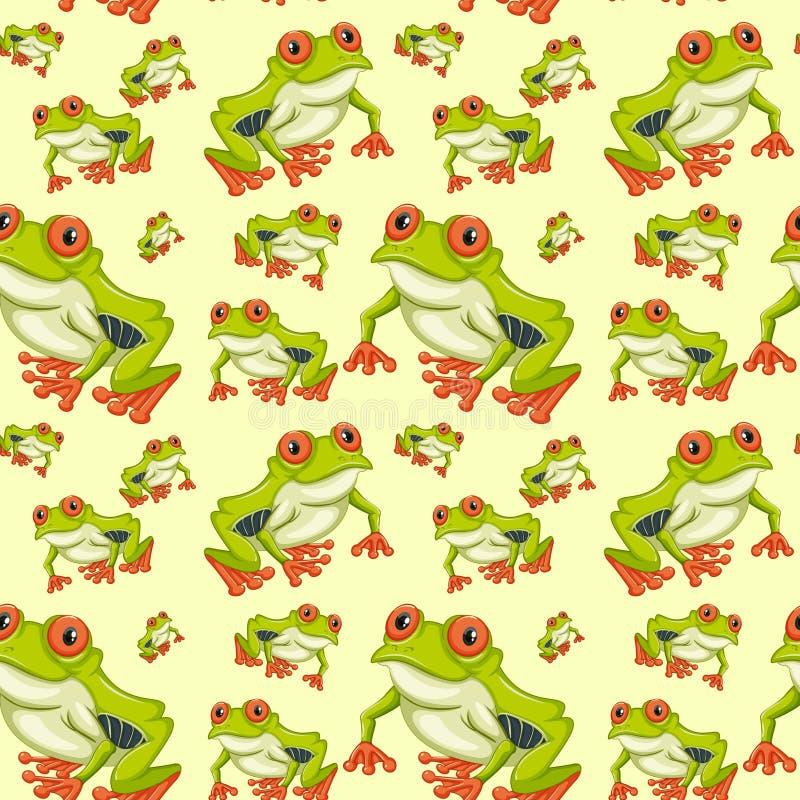 Наблюданная красным цветом картина древесной лягушки безшовная иллюстрация штока