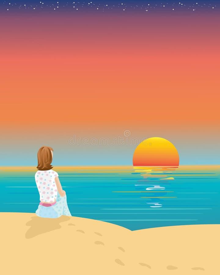 наблюдать захода солнца иллюстрация вектора