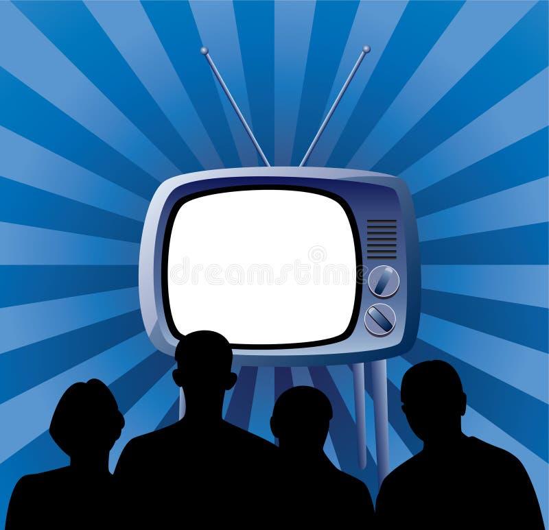 наблюдать tv комплекта семьи ретро бесплатная иллюстрация