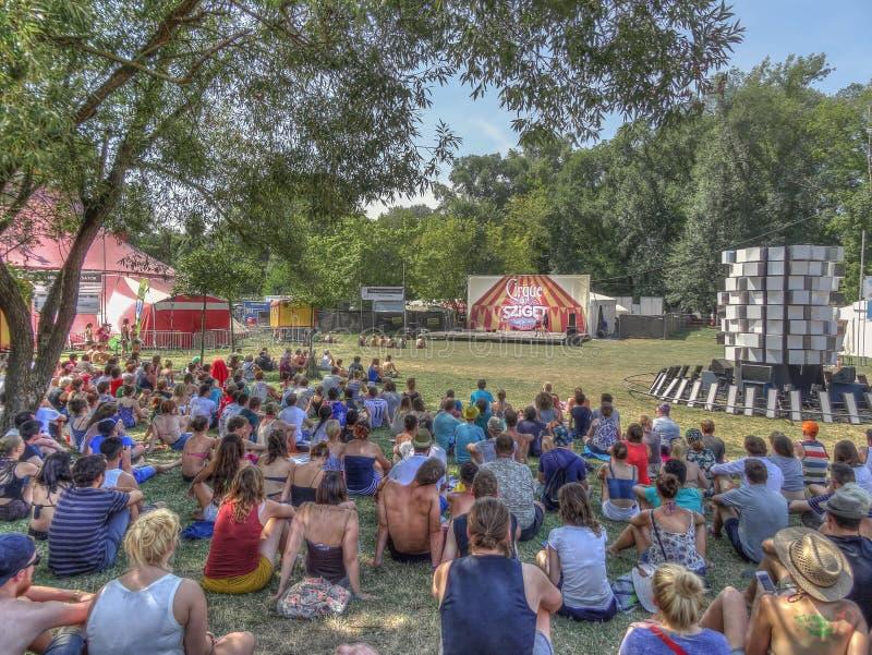 Наблюдая совершители на цирке Sziget стоковое фото rf