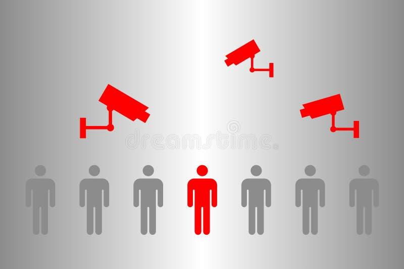 Наблюдение с помощью видеонаблюдения CCTV и приложения для мобильных телефонов для обнаружения людей с вирусом Corona Covid-19 по иллюстрация вектора