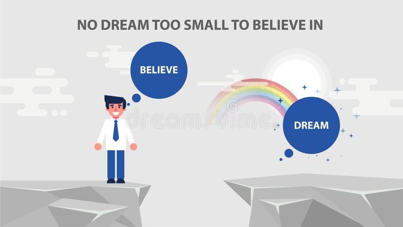 Наборы бизнесмена достигают цель никакая мечта иллюстрация штока