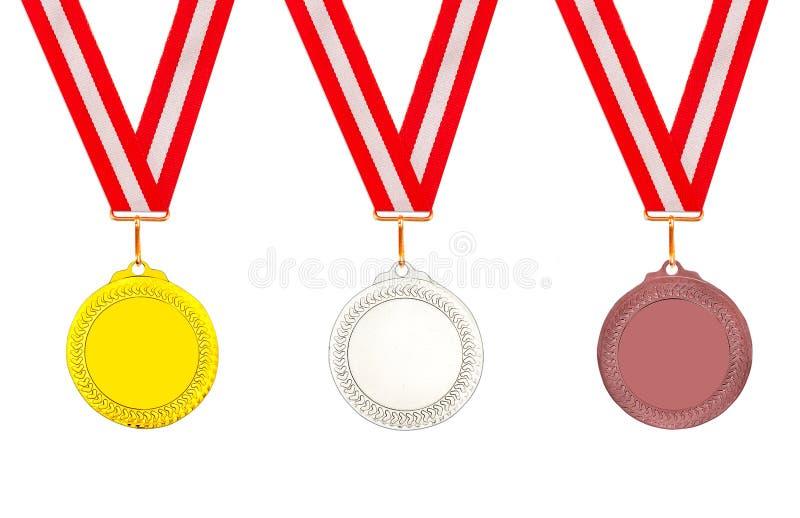 Наборы бронзовых медалей серебра золота стоковое изображение rf