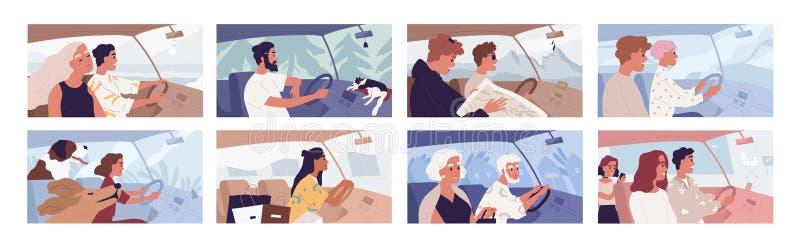 Наборы векторных иллюстраций, иллюстрирующих движение автомобиля Концепция дорожного движения Путешествие с животными Женский шоп иллюстрация штока