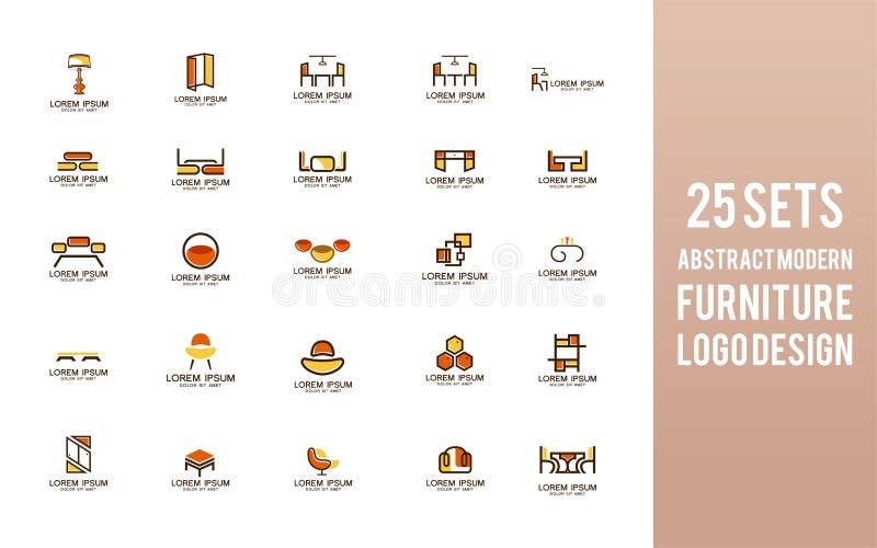 Наборы дизайна логотипа мебели Современный внутренний символ бесплатная иллюстрация