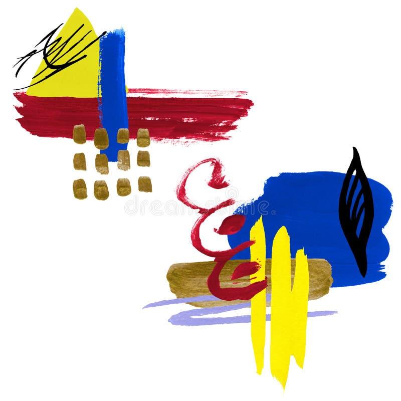 Набор абстракции акварели Коллаж пятен иллюстрация вектора