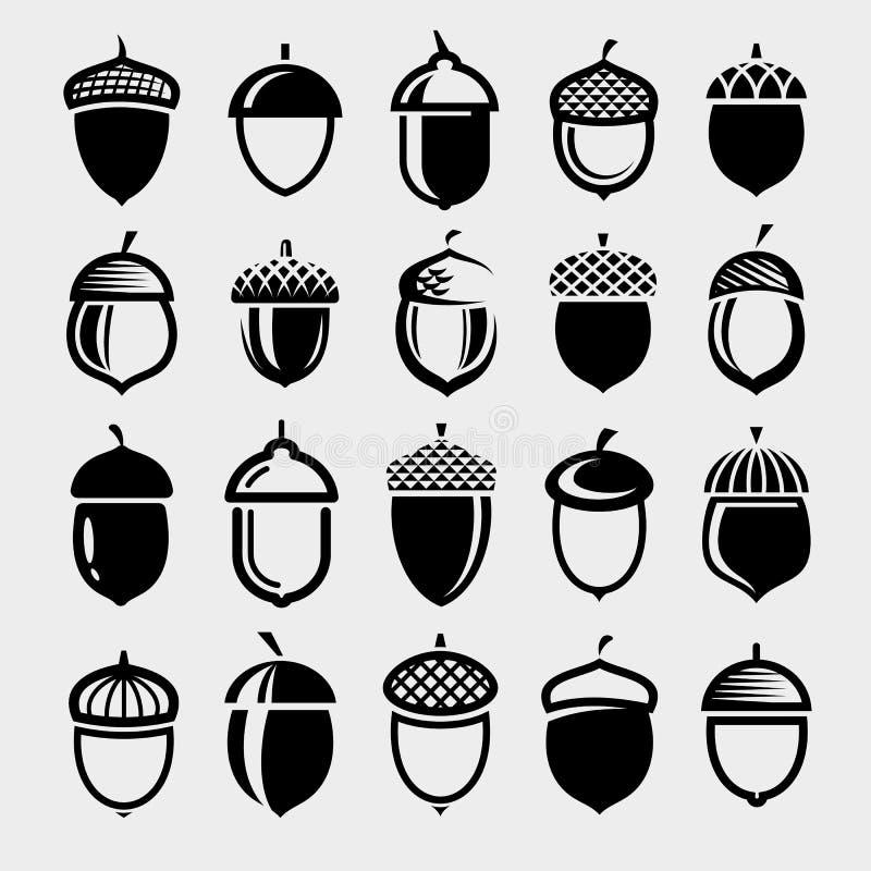 Набор акорнов Значок коллекции Вектор иллюстрация вектора