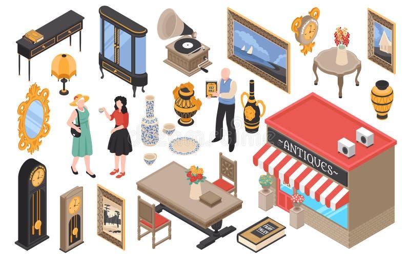 Набор антикварного магазина равновеликий бесплатная иллюстрация