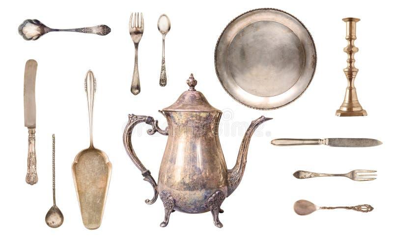 Набор античного точного tableware стоковая фотография