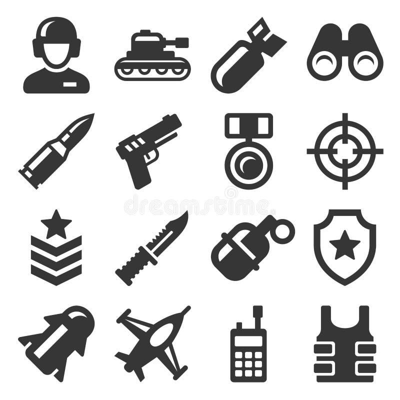 Набор армии, военных и войны значков вектор иллюстрация штока