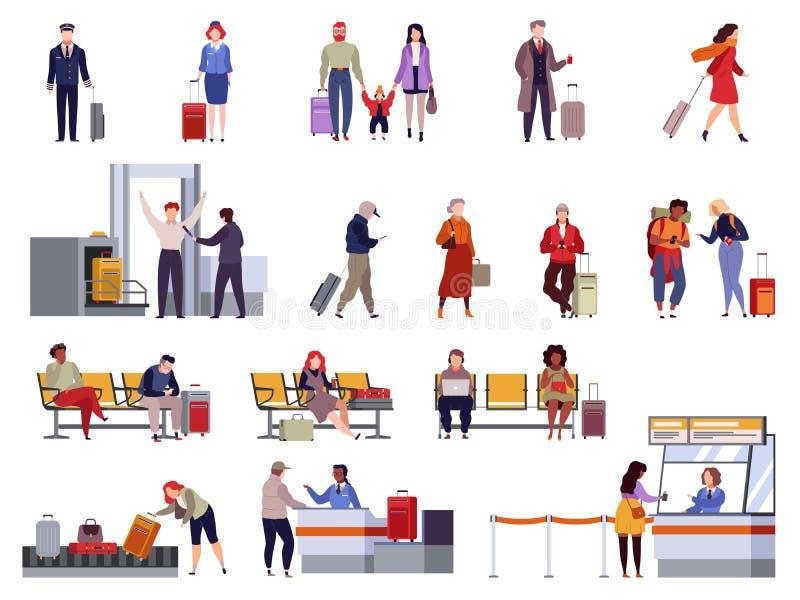 Набор аэропорта людей Пассажир багажа крупного аэропорта безопасностью контрольно-пропускного пункта паспортного контроля регистр иллюстрация вектора