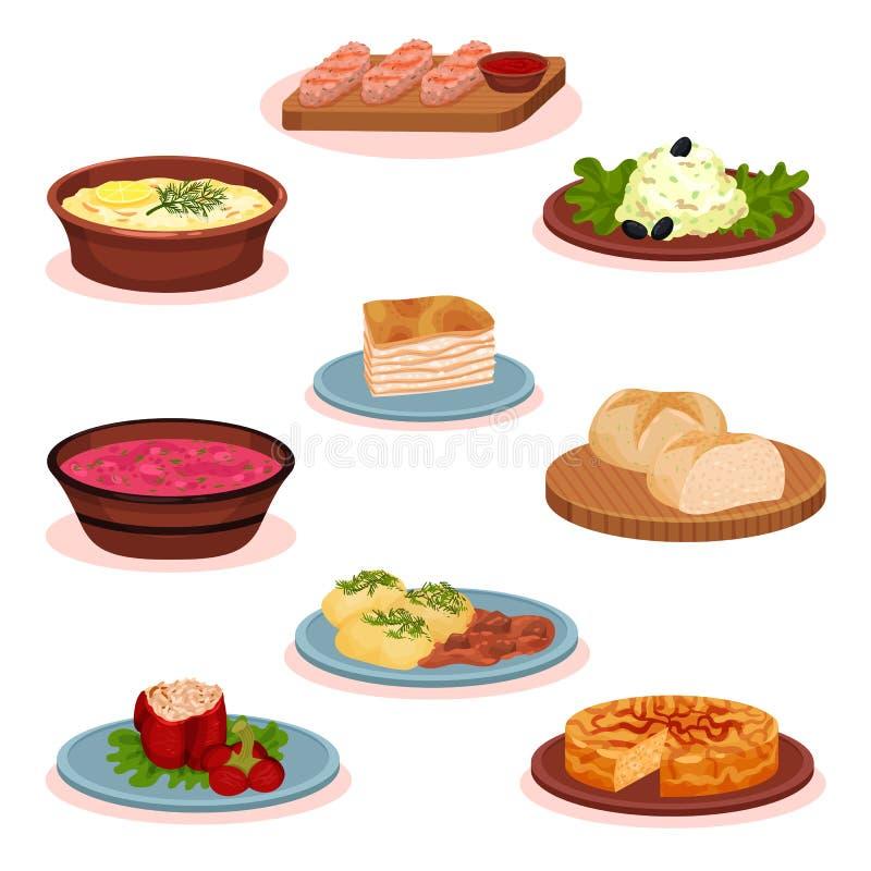 Набор блюд еды болгарской кухни национальный, традиционная здоровая иллюстрация вектора еды на белой предпосылке иллюстрация вектора