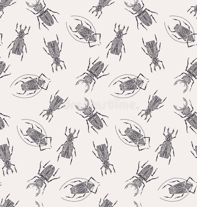 Beetles pattern repeats seamless in color for any design. royalty free illustration