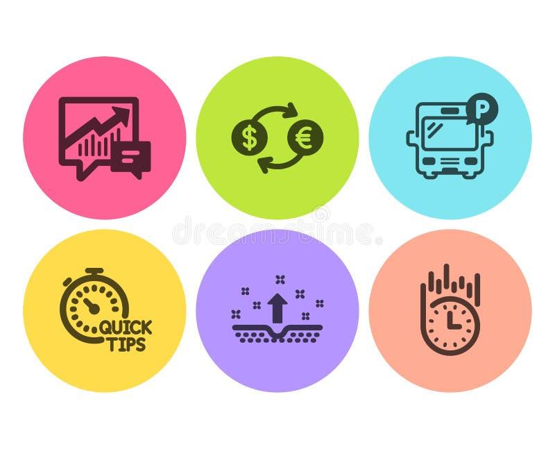 Набор быстрые подсказки, стоянка автобуса и значки обмена валюты Объяснение, чистая кожа и быстрые знаки доставки r иллюстрация штока