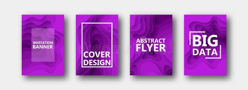 Набор 4 вариантов для знамен, летчиков, брошюр, карт, плакатов для вашего дизайна, в пурпурных цветах иллюстрация вектора