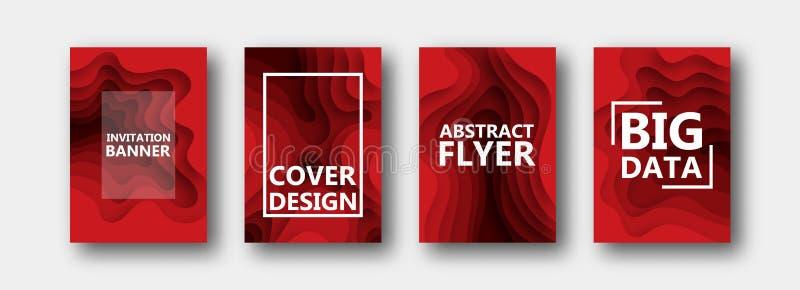 Набор 4 вариантов для знамен, летчиков, брошюр, карт, плакатов для вашего дизайна, в красных цветах бесплатная иллюстрация