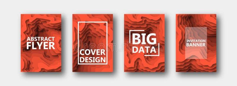 Набор 4 вариантов для знамен, летчиков, брошюр, карт, плакатов для вашего дизайна, в оранжевых тонах иллюстрация штока