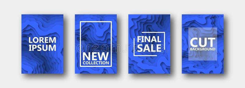 Набор 4 вариантов для знамен, летчиков, брошюр, карт, плакатов для вашего дизайна, в голубом цвете иллюстрация штока