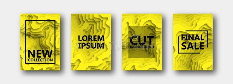 Набор 4 вариантов для знамен, летчиков, брошюр, карт, плакатов для вашего дизайна, в желтом цвете бесплатная иллюстрация