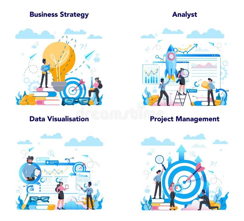 Набор веб-баннеров бизнес-аналитиков или начальных страниц Стратегия бизнеса бесплатная иллюстрация