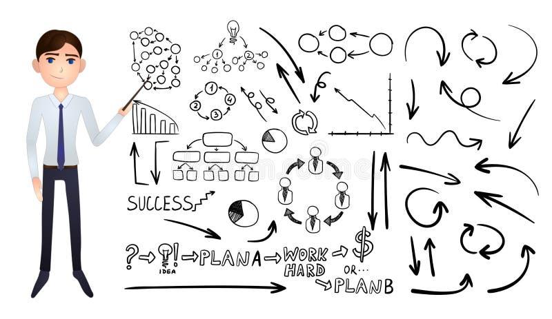 Набор вектора большой элементов Doodle руки дела вычерченных изолирован бесплатная иллюстрация