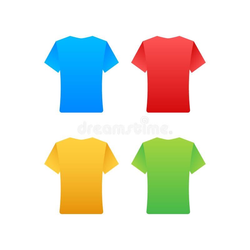 Набор вектора вида спереди футболок цвета изолировал r бесплатная иллюстрация