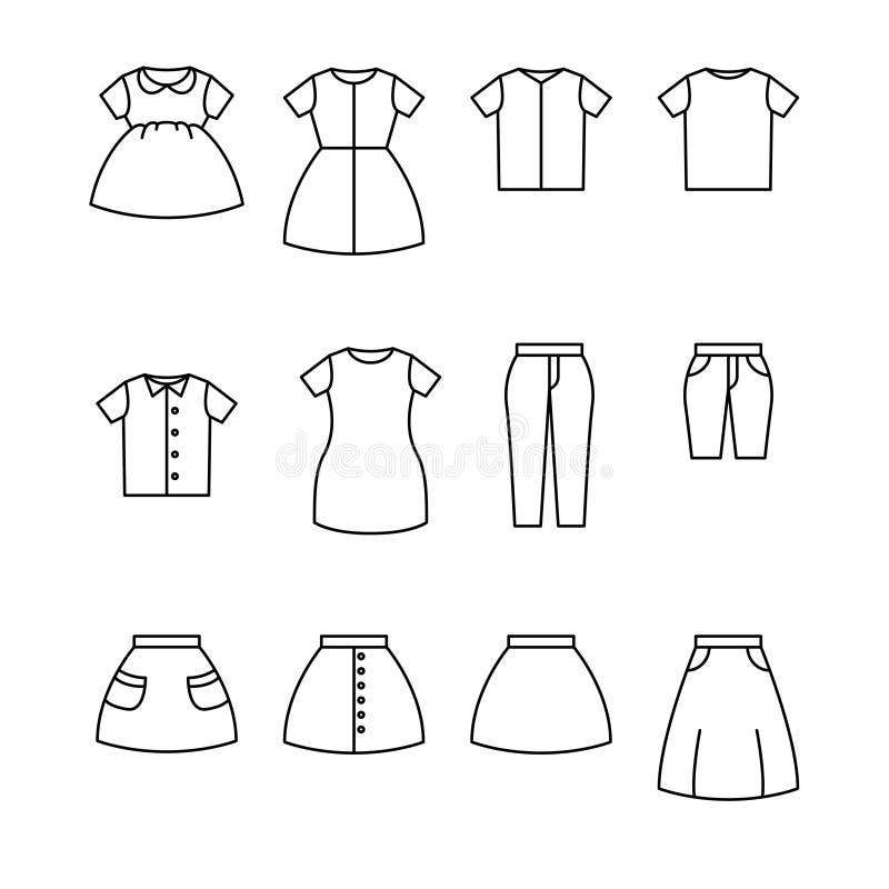 Набор вектора значка бельевой веревки Символы значка плана одеяния иллюстрация штока