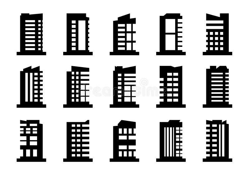 Набор вектора значков компании, черное строя собрание на белой предпосылке, изолированной иллюстрации дела иллюстрация вектора