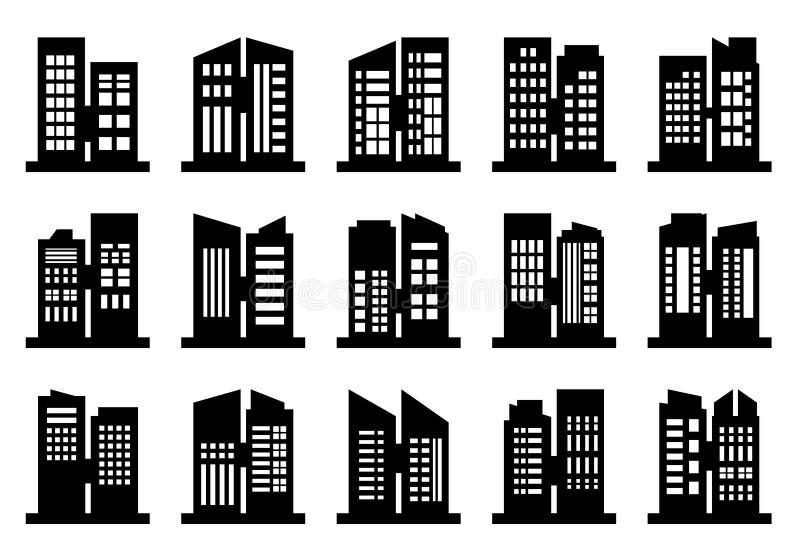 Набор вектора значков компании, черное строя собрание офиса на белой предпосылке бесплатная иллюстрация