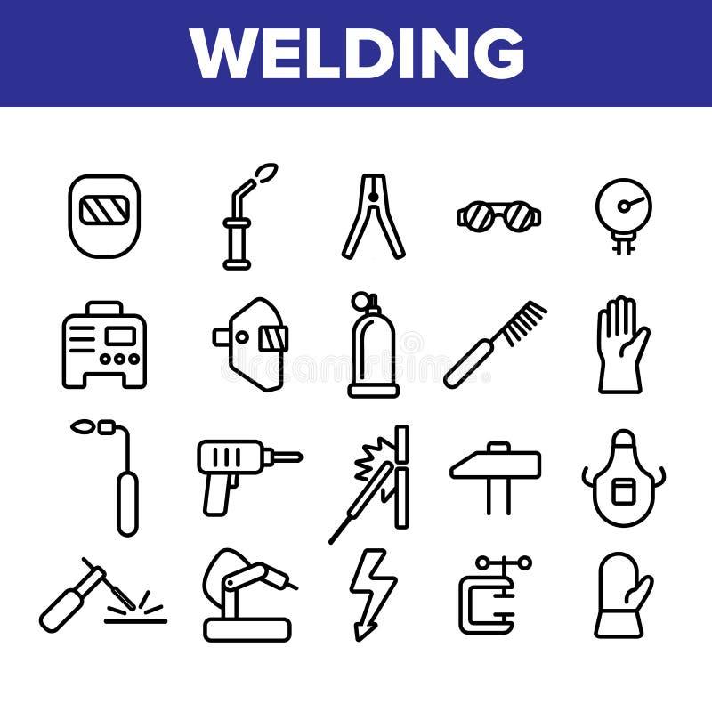 Набор вектора значков сварочного оборудования линейный бесплатная иллюстрация