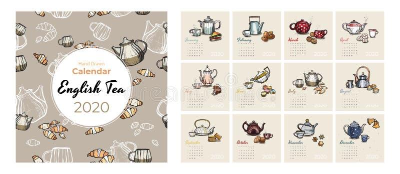 набор вектора искусства еды 2020 и чая календаря Календарь сделанный эскиз к чаепитием Установите страницы 12 месяцев Чайники, ча иллюстрация вектора