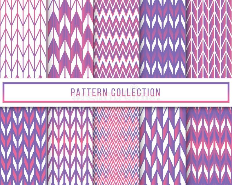 Набор вектора картины фиолетового зигзага шеврона ступенчатости 10 ретро винтажного безшовной для обоев, ткани, создавая программ иллюстрация штока
