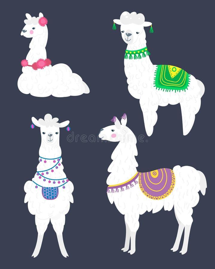 Набор вектора ламы Иллюстрация шерстей и лам альпаки Квартира мультфильма бесплатная иллюстрация