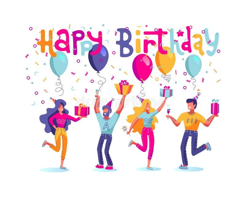 Набор вектора людей дня рождения Группа в составе счастливые люди празднуя праздник в шляпах с огромными подарочными коробками Ко иллюстрация штока