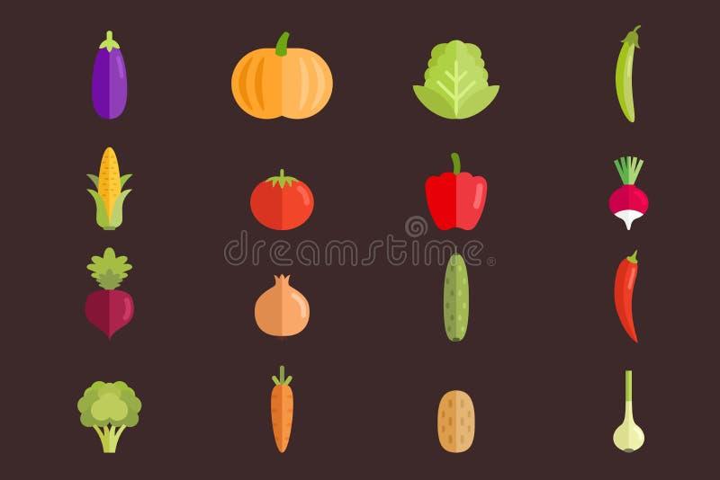 Набор вектора овощей плоский иллюстраций Естественные свежие продукты для здорового образа жизни иллюстрация вектора