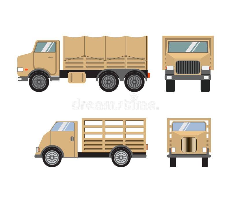 Набор вектора плоский военных тяжелых грузовиков Экипаж перехода солдат иллюстрация штока