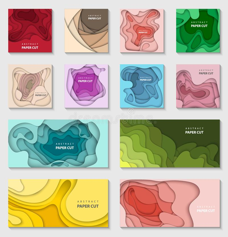 Набор вектора 12 предпосылок с формами цветов градиента бумажными отрезанными 3D абстрактный бумажный стиль, план дизайна иллюстрация штока