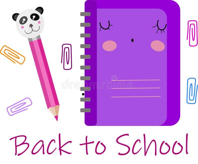 Набор вектора, собрание, иллюстрация с фиолетовой милой тетрадью и розовый карандаш с пандой E иллюстрация вектора