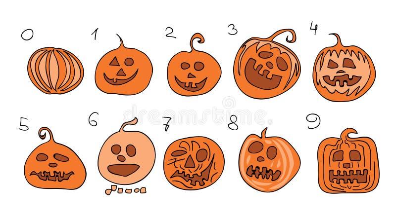 Набор вектора 10 сумасшедших тыкв с номерами от нул до 9/комплекс предпусковых операций к счастливому хеллоуину иллюстрация штока