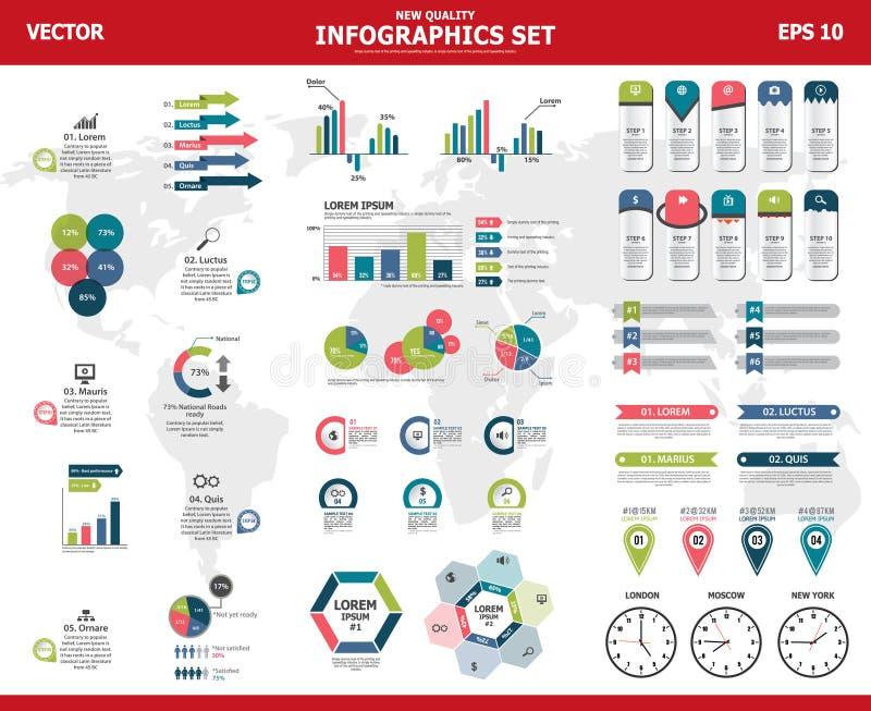 Набор вектора Infographic мега Богатое собрание элементов для представления маркетинга, бизнес-отчетов, визуализирования данных,  иллюстрация штока