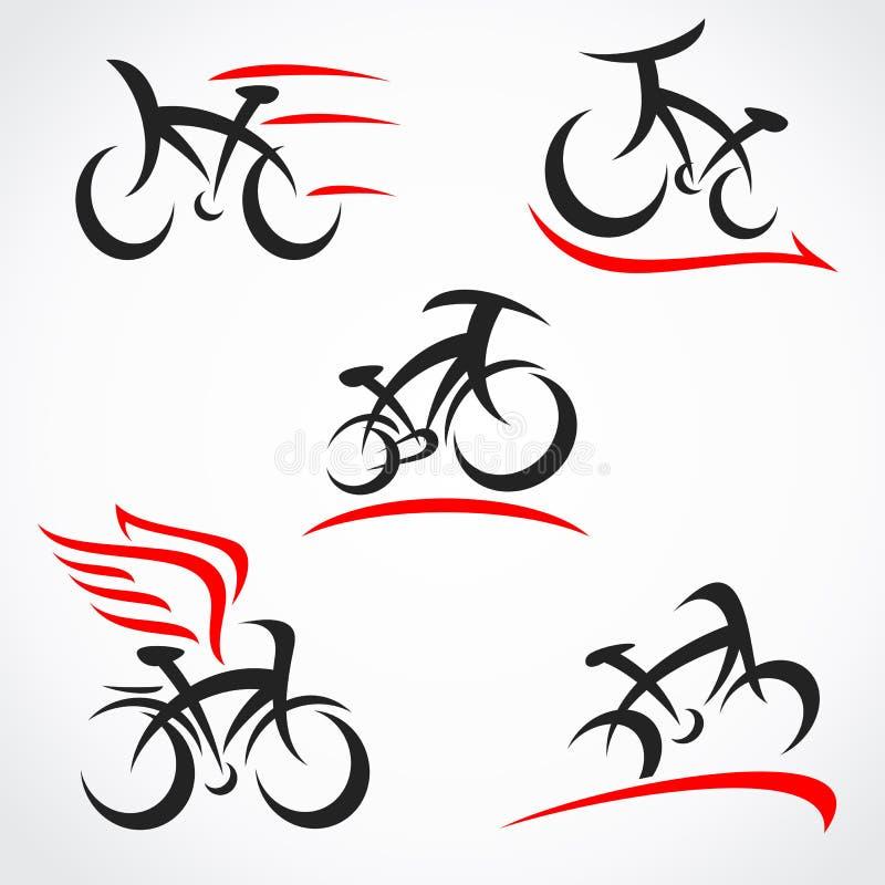 Набор велосипедов Велосипед значка коллекции Вектор бесплатная иллюстрация