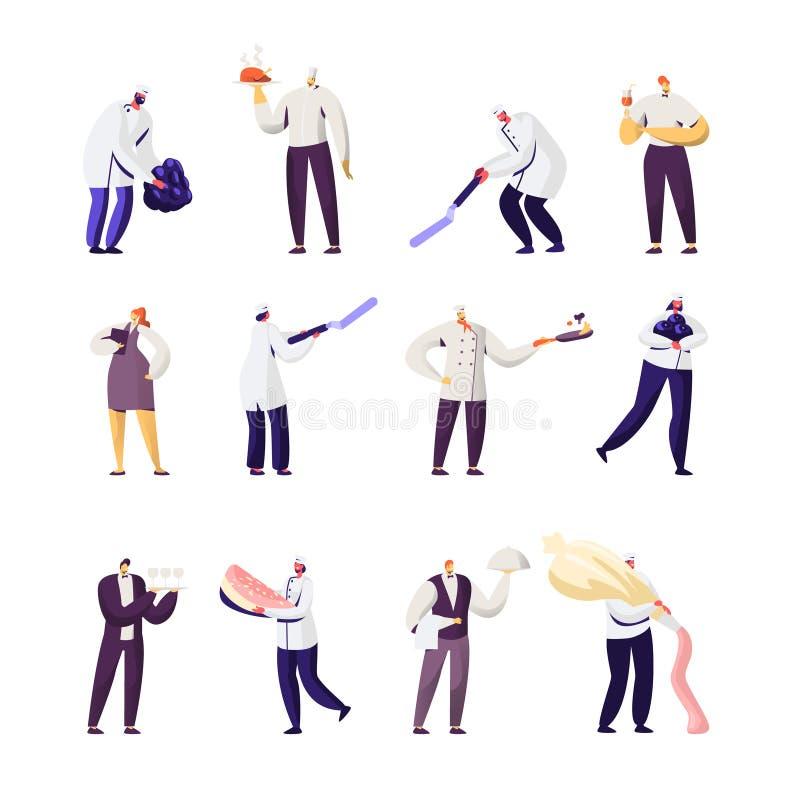 Набор вещества ресторана Мужчина и женские характеры в форме Администратор с тетрадью, вождь в Toque, официантах держа поднос иллюстрация штока