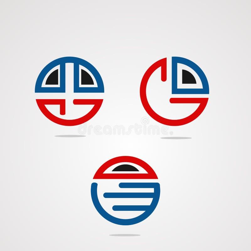 Набор викторины круга с современными вектором, значком, элементом, и шаблоном логотипа концепции для компании иллюстрация вектора