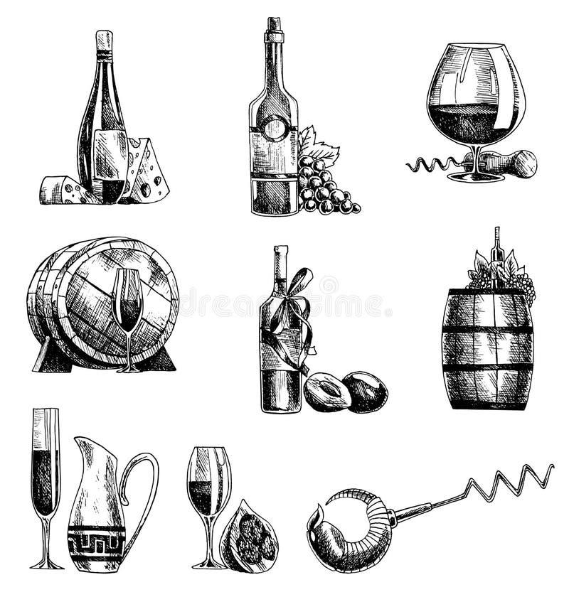 Набор вина вектора эскиза руки вычерченный Объекты бутылка вина, стекло, бочонок, виноградины, штопор, сомелье иллюстрация вектора