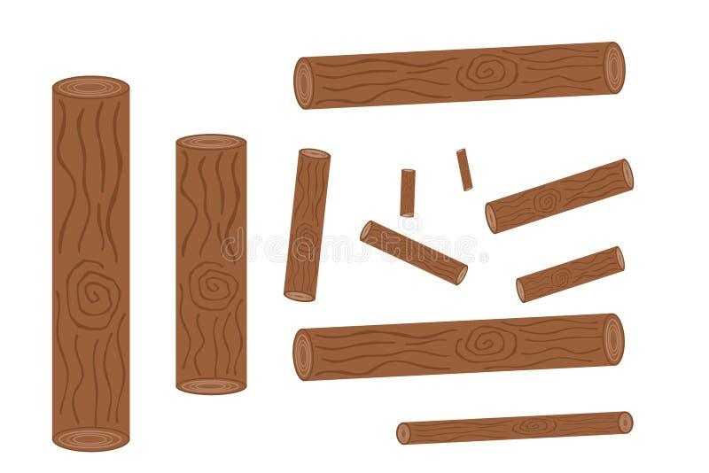 Набор вносить в журнал, пней и иллюстрации запаса доск, woodpile и деревянного logs†« иллюстрация штока